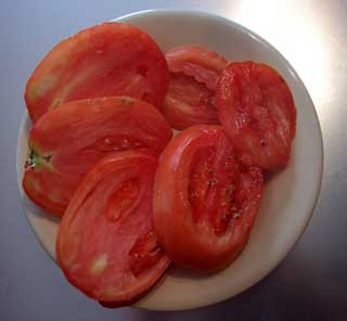 Enormous Plum Tomato Sliced